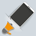 Convert smartphone bullhorn with on the gray background Royalty Free Stock Photo