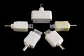 Converter plugs in star formation five types of plug connector adapter Royalty Free Stock Photography