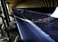 Conveyor belt belts at a mine moving rocks from under ground Stock Images