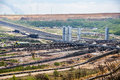 Conveyor belt systems at the lignite (brown coal) strip mining G Royalty Free Stock Photo