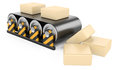 Conveyor with boxes belt of rubber part of warehouse and logistics series Stock Images