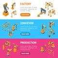 Conveyor Machines Robotic Hand Banner Horizontal SetIsometric View. Vector Royalty Free Stock Photo
