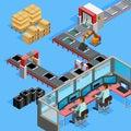 Conveyor Manufacturing Line Operators Isometric Poster