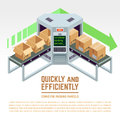 Conveyor packing parcels. Vector 3D isometric concept