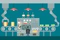 Conveyor robot manipulators work businessman in