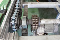 Conveyors drive shaft and motor for assembly line Royalty Free Stock Image