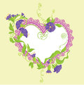 Convolvulus flowers bouquet and lace heart design for wedding invitation or valentines day card Stock Images