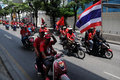 Convoy of Thai Red Shirt Protesters on Motorbikes Stock Photos