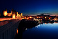 Conwy castle at dusk in north wales uk Royalty Free Stock Photos