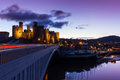 Conwy castle at dusk in north wales uk Royalty Free Stock Photo