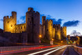 Conwy castle at dusk in north wales uk Royalty Free Stock Images