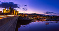 Conwy castle panoramic image of at dusk in north wales uk Royalty Free Stock Photos