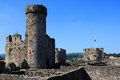 Conwy castle wales ruins of medieval fortification in Royalty Free Stock Image