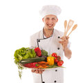 Cook with assortment fresh vegetables big isolated over white background Royalty Free Stock Photography