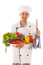 Cook with assortment fresh vegetables big isolated over white background Royalty Free Stock Photos