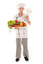 Cook with assortment fresh vegetables big isolated over white background Stock Images