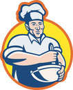Cook Chef Baker With Mixing Bowl Retro Royalty Free Stock Photography