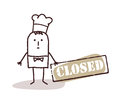 Cook chef with closed sign