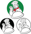 Cook chef vector illustration of holding serving platter and doing excellent sign Stock Photography
