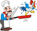 Cook and chicken