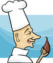 Cook with chocolate cream cartoon illustration of on the spoon Royalty Free Stock Image