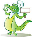Cook croc vector illustration of crocodile holding blank signboard Royalty Free Stock Photo