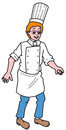 Cook drawing of a chief with his hat and his apron Royalty Free Stock Photography
