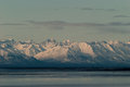 Cook inlet mountains the durning sun set Royalty Free Stock Photos