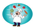 The cook with juggling with vegetables Royalty Free Stock Photo