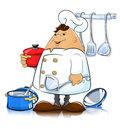 Cook with kitchen utensils Royalty Free Stock Photography