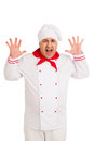Cook man wearing uniform screams over white background Stock Images
