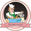 Cook restaurant etiquette chef cooks the soup Royalty Free Stock Photo