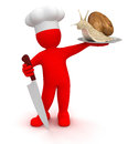 Cook with snail (clipping path included) Royalty Free Stock Photo