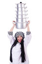 Cook with stack of pots on white Royalty Free Stock Photos