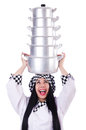 Cook with stack of pots on white Royalty Free Stock Photography