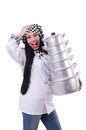 Cook with stack of pots on white Royalty Free Stock Images