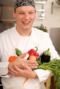 Cook with vegetables Stock Photo