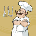 Cook in white hat smiling chef a Royalty Free Stock Photos