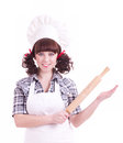 Cook woman holds a kitchen wood utensil Royalty Free Stock Photo