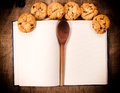 Cookbook and cookies blank homemade sweet Royalty Free Stock Images