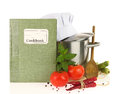 Cookbook vegetables and casserole on white Royalty Free Stock Photography