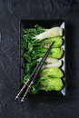 Cooked bok choy with sesame seeds Royalty Free Stock Photo