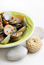 Cooked clams in white wine Royalty Free Stock Photo