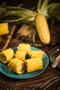 Cooked corn on the cob with salt and butter Royalty Free Stock Photo
