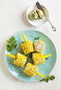 Cooked corn with herb butter Royalty Free Stock Photo