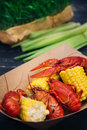 Cooked crayfish with grilled vegetables
