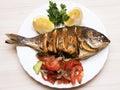 Cooked fish sea bream fish.