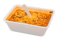 Cooked instant noodle in rectangular cup and fork Royalty Free Stock Photo