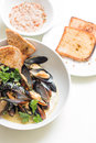Cooked mussels in a with bowl Royalty Free Stock Photo