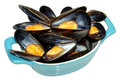 Cooked mussels fresh in a blue dish isolated on a white background Stock Images